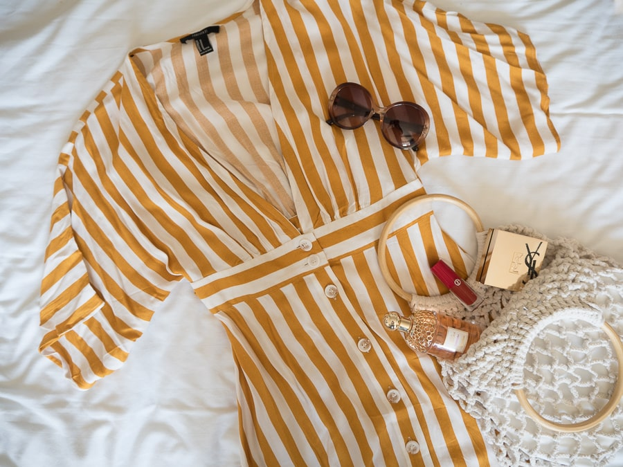 forever 21 striped dress flatlay